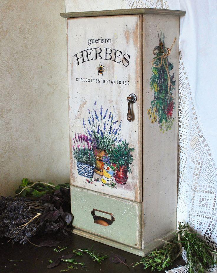Купить ТРАВЫ аптечный шкафчик - белый, оливковый цвет, Шкафчик, шкафчик для специй, шкафчик для трав