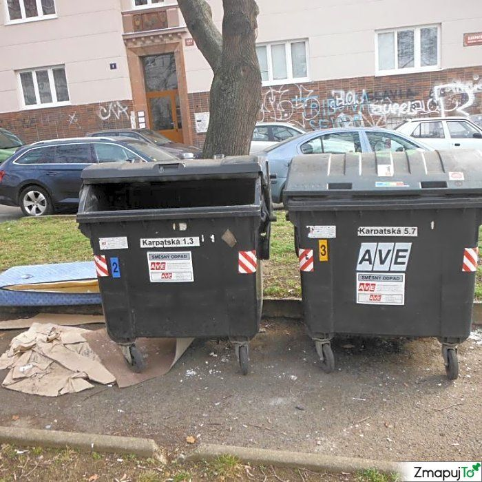 Podnět 145649 - Odpadkový koš kontejner - Praha 10 #Odpadkovýkoškontejner #Praha10 #ZmapujTo #MobilniRozhlas