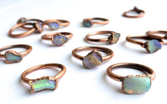 Raw opal ring Australian opal
