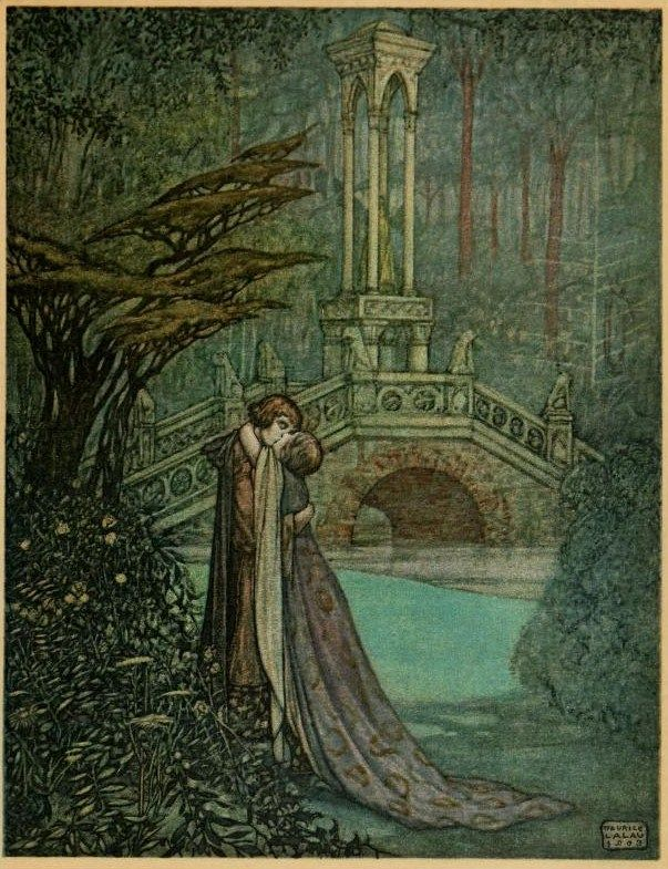 Under the trees he pressed her to his heart without a word The romance of Tristram and Iseult  Joseph Bédier  illustrated by Maurice Lalau. 1910