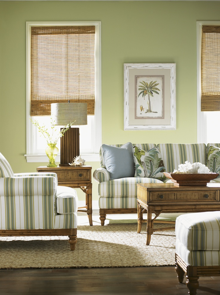 Tommy Bahama Living Room By Lexington. Fresh Coastal Color Palette Using  Classic Stripes.