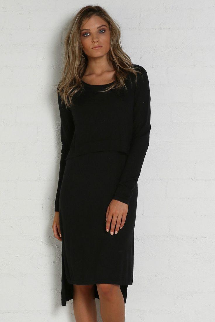 Madison Square - Hana Overlay Knit Dress - Black