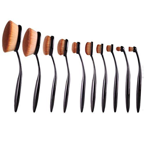Sankuwen 10 Pcs Powder Foundation Face Makeup Oval Loose Brush * Continue to the product at the image link.