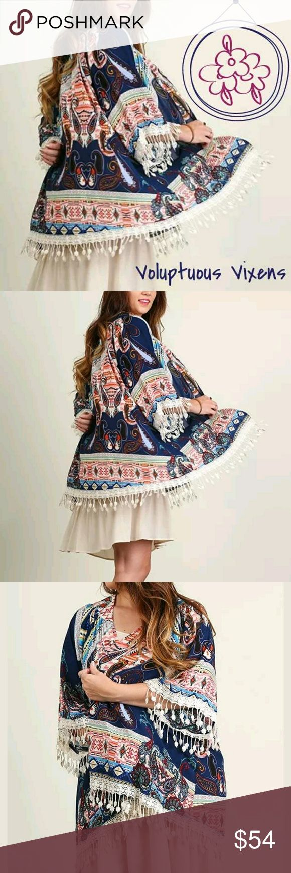 {PLUS} Gorgeous Bohemian Kimono with Fringes USA! Beautiful Bohemian kimono with fringes. USA size 3X. Lightweight cotton fabric with whimsical print. Thanks for looking and Happy Poshing! Lynnette 🤣 Studio+ Tops