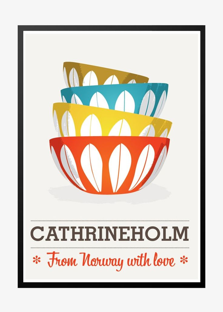 Retro plakat: Cathrineholm – From Norway with love – gray