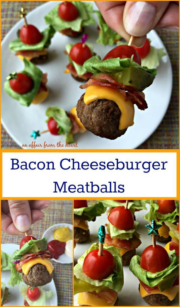 Bacon Cheeseburger Meatballs - Perfect appetizers – meatballs stacked with all of the ingredients for a deluxe bacon cheeseburger!