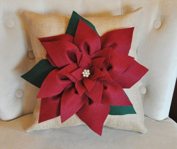 Decorative Christmas Flower Pillow Large White Rose Burlap Pillow Cover. This Pillow makes a Beautiful Accent Piece for any room! Perfect for Baby Girls through Adults. ~Flower and Pillow can be made in just about any color, just contact seller! Cranberry Red Poinsettia Flower is 3D and