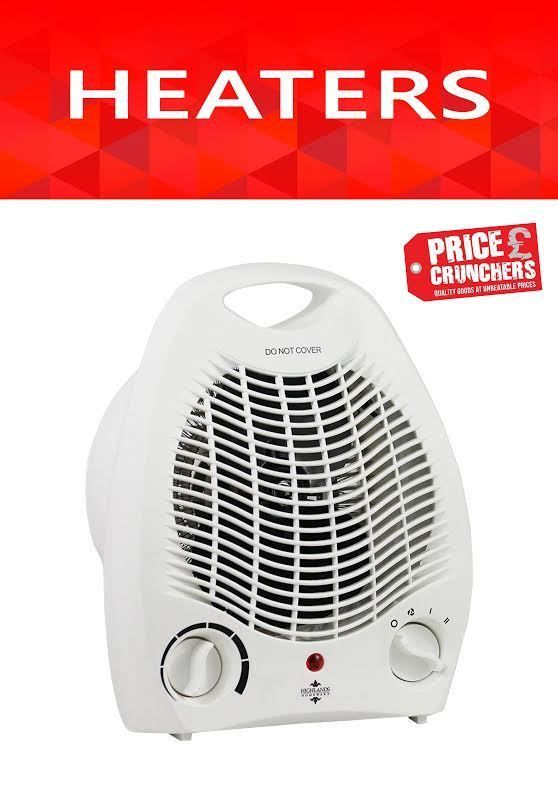 Electric Fan Heater Adjustable Thermostat Portable Silent Energy Efficient 2000W #Highlands
