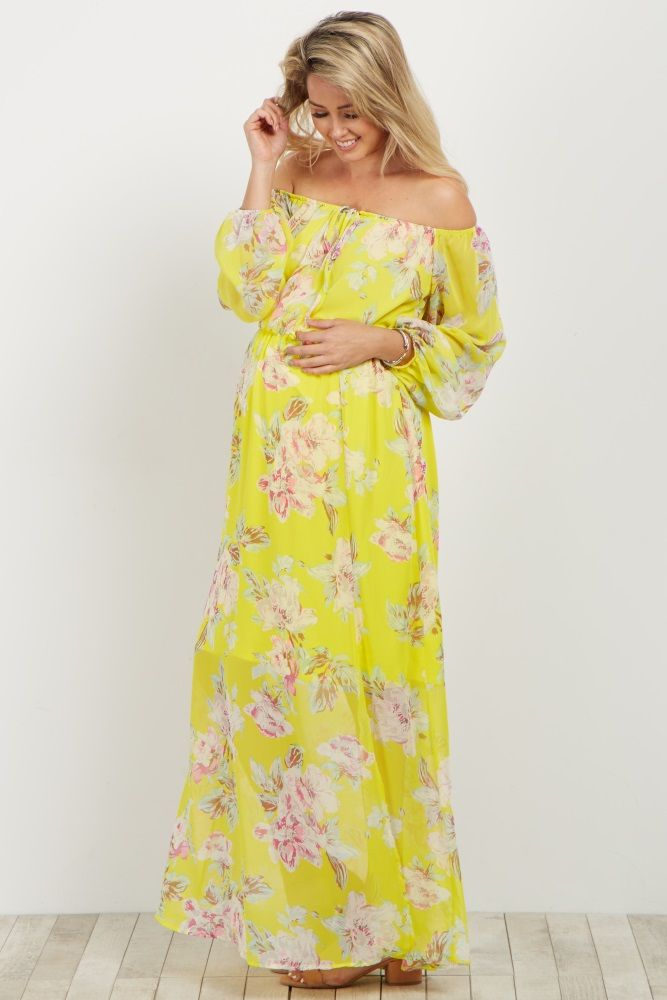 Yellow Floral Off Shoulder Maternity Maxi Dress