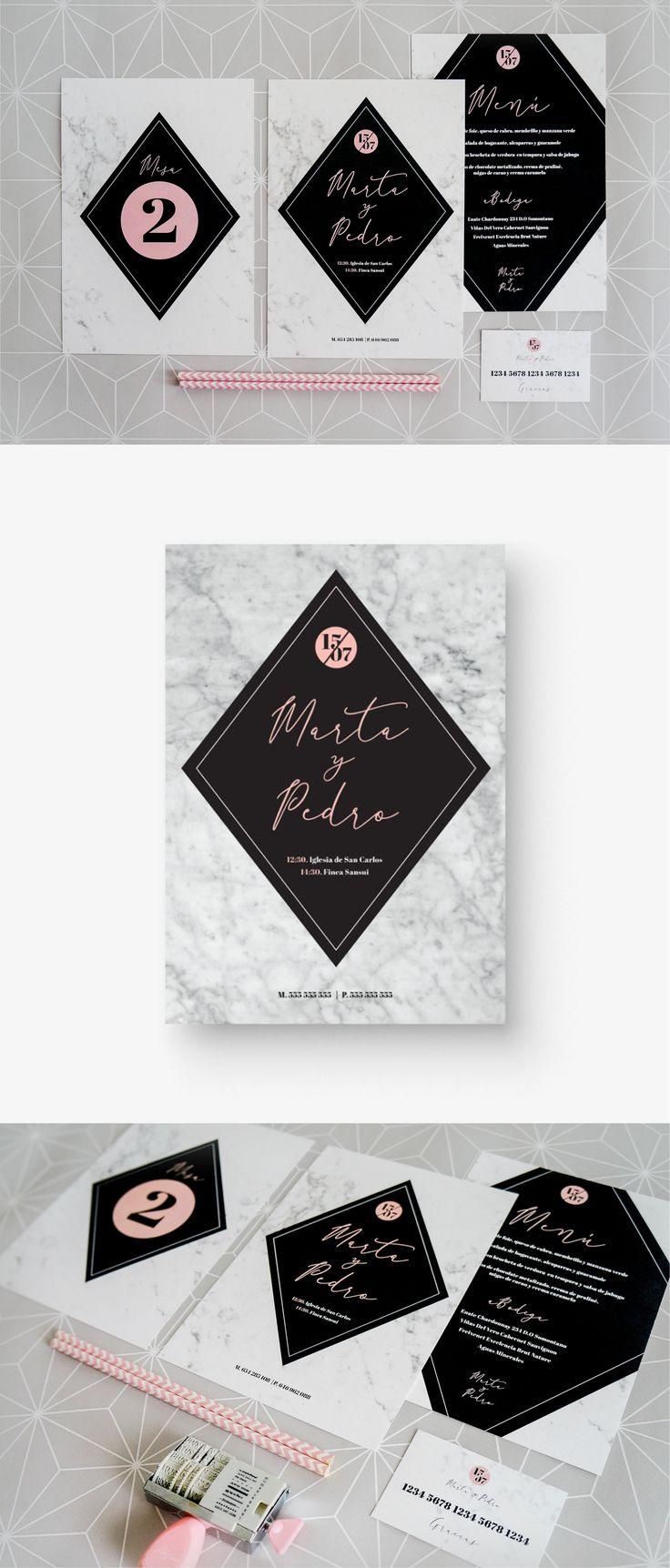 Wedding invitation design with marble texture / Diseño de invitación de boda con textura de mármol