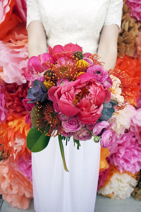 Big, bold bouquet of fuchsia peonies and pincushion proteas | Julia Smith Floral