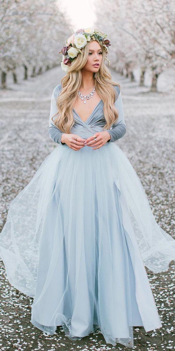18 Dreamy Blue Wedding Dresses To Inspire Wedding Dresses Guide Blue Wedding Dresses Wedding Dress Guide A Line Wedding Dress