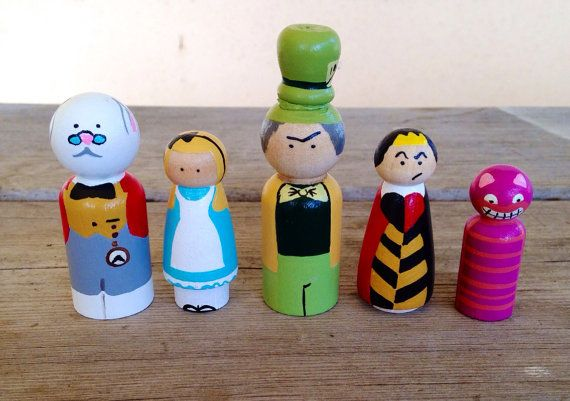Alice in wonderland peg doll playset by KrisTeenyTinys on Etsy