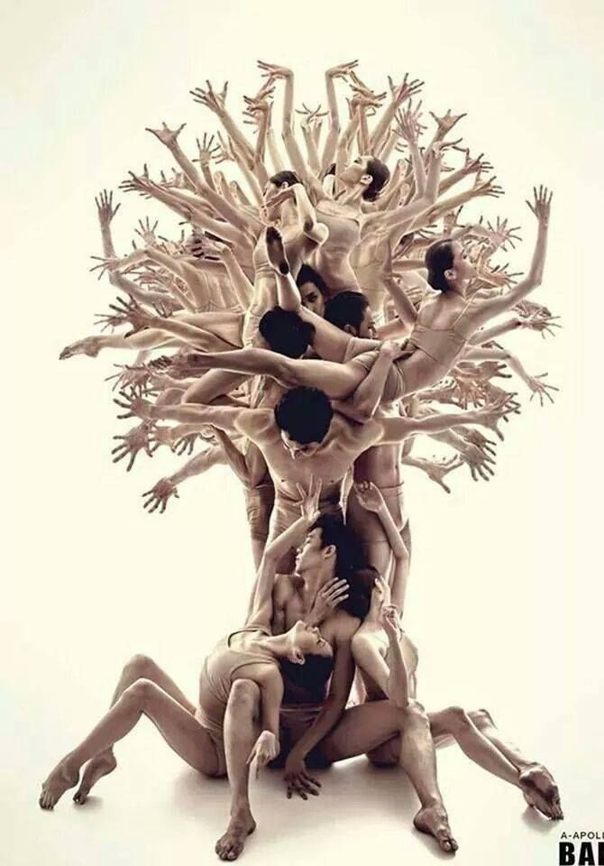 A tree of dancers with many dancers' hands