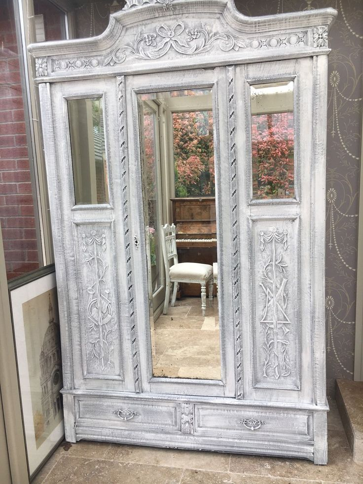 Antique Belgian solid wood wardrobe painted in grey and chalky white paint. Solid wood construction comes apart into panels, very ingenious! Height 230cm Width 135cm Depth 60cm all approx call for exact Cash on collection Or can arrange local delivery at extra cost. If you would like to view the item or have any further questions please contact me If you are unable to collect and live further away, please try anyvan.com or arrange your own courier as they will deliver nationwide and are very…