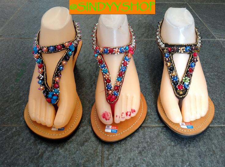 sandal bali hak tinggi kulit manik manik on sindyyshop