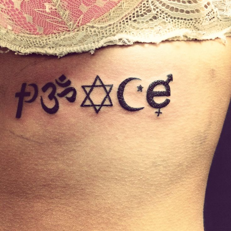 "My ""peace"" tattoo spelled with symbols that you never find side-by-side. If we all live coexist together, as one, setting aside our differences; that is where we will find peace. Check out my other tattoos I have pinned on this board- Crystal Jewell. ❤️"