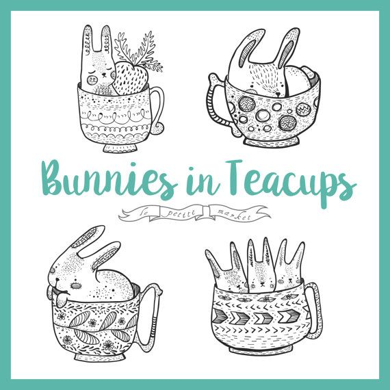 Cute Hand Drawn Bunny Rabbit Clipart, Digital Bunny Clipart, Rabbit Illustration, Line Art Bunny Rabbits Teacup Clipart, Cute Bunny Download