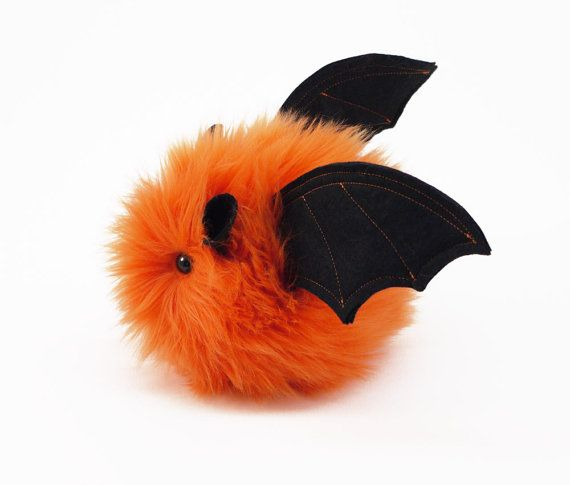 Luna the Bat Fluffy Orange Halloween Stuffed Animal Toy Plushie - 4x5 Inches Small Size