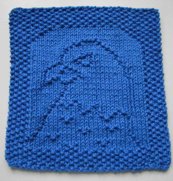 Free Knitting Pattern for Eagle Dish or Wash Cloth - Easy pattern byElaine Fitzpatrick ofDown Cloverlaine can be used as cloth or afghan block or motif in other knitting projects.