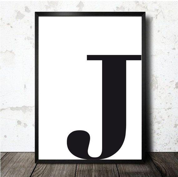 Letter J poster afdrukbare A4. MOnogram eerste door decopared