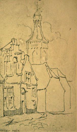 Anton Pieck. Gezicht op Huize de Trippen, Zaltbommel