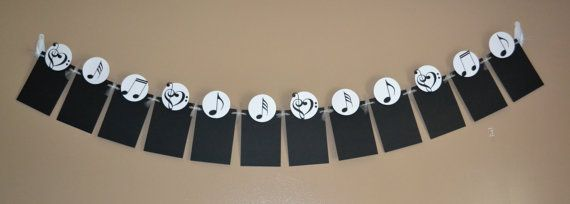 Music Photo Banner - Music Birthday Party - Recital - 1st Birthday - 12 Detachable Favor Clips