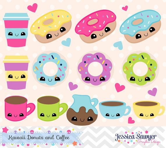 INSTANT DOWNLOAD Kawaii Coffee and Donut by JessicaSawyerDesign