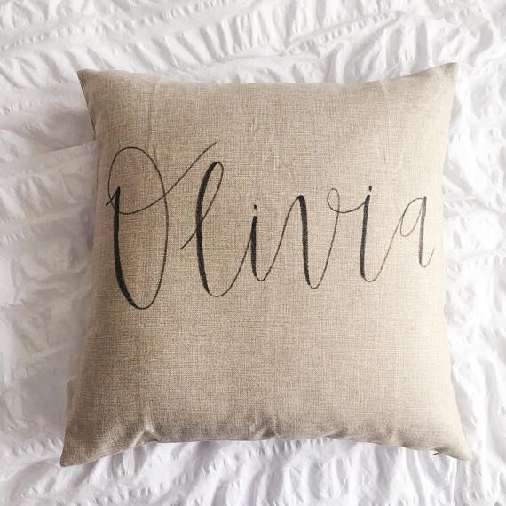 Light brown pillow cover personalized with your name of choice! Each design is hand lettered.  Put the name you would like on the pillow in the notes to seller upon checkout.  Made to order, please allow 1-2 weeks.   Listing is for the cover only, the pillow insert is not included.