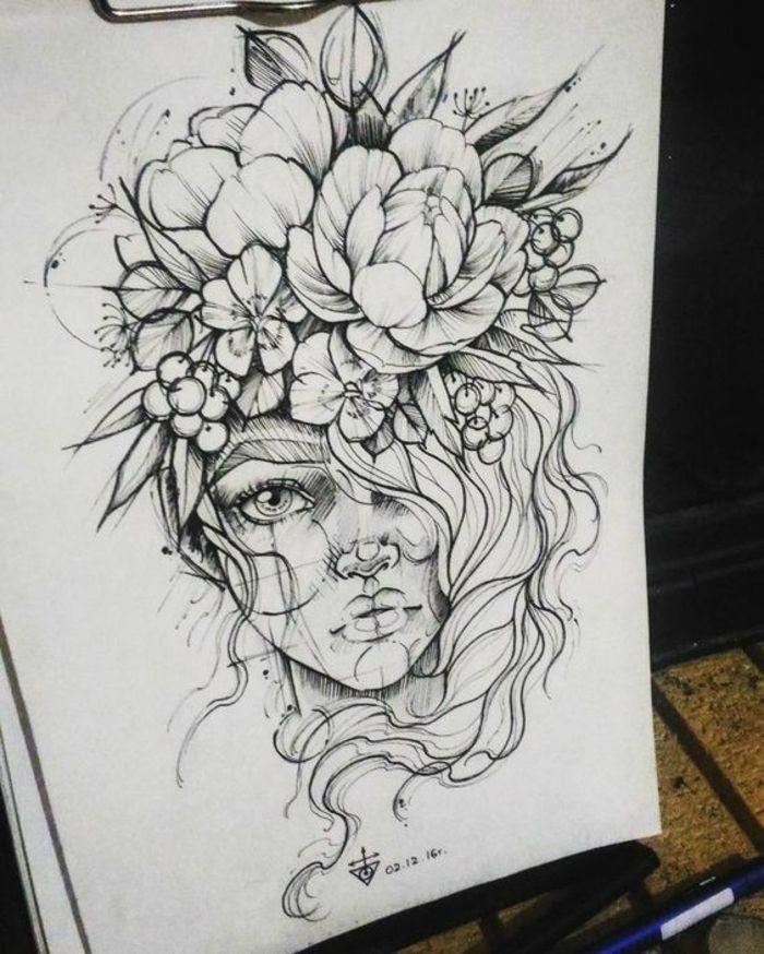 Femme, tatouage, dessin tatouage, tatouage …   – Nice art work