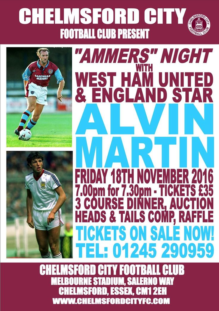 CHELMSFORD CITY TO HOLD HAMMERS NIGHT