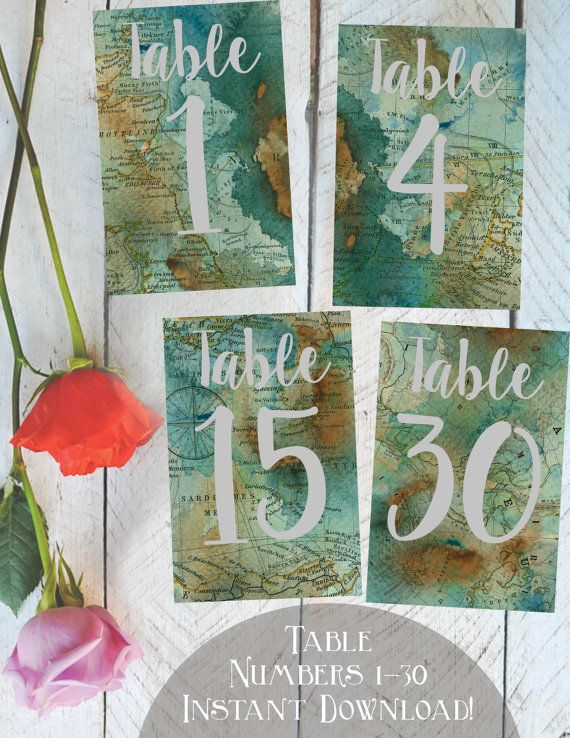 Table Numbers 1-30, Printable, Vintage Map, Travel Themed Weddings or Parties, Instant Download!