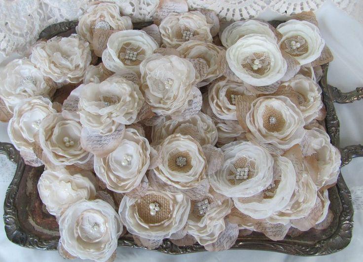 Burlap fabric Flowers Wedding Decorations for centerpieces table decor