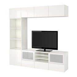"BESTÅ TV storage combination/glass doors - white/Selsviken high-gloss/white frosted glass, drawer runner, push-open, 94 1/2x15 3/4x90 1/2 "" - IKEA"