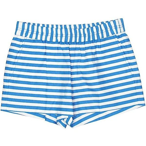 J. Crew Factory Store Shorts ($9.99) ❤ liked on Polyvore featuring shorts, blue, j crew shorts, blue shorts, blue linen shorts and linen shorts