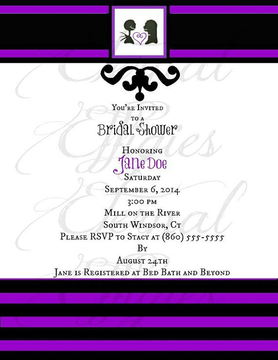 Skellington Nightmare Before Christmas Bridal Shower Invitations by EternalEffigies- if only they weren't $2.00 each!