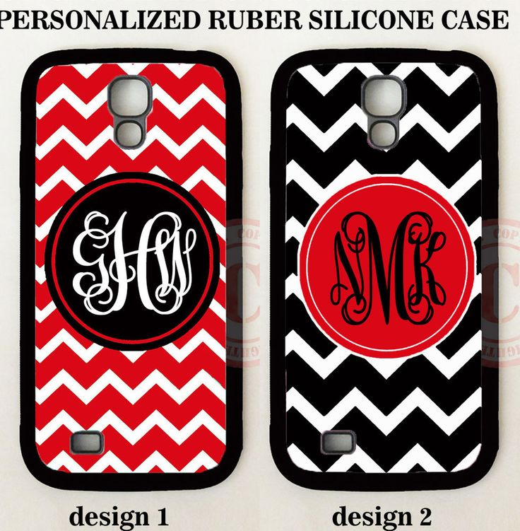 Personalize RED BLACK CHEVRON MONOGRAM Rubber Case For Samsung Galaxy S7 S6 NOTE #UnbrandedGeneric