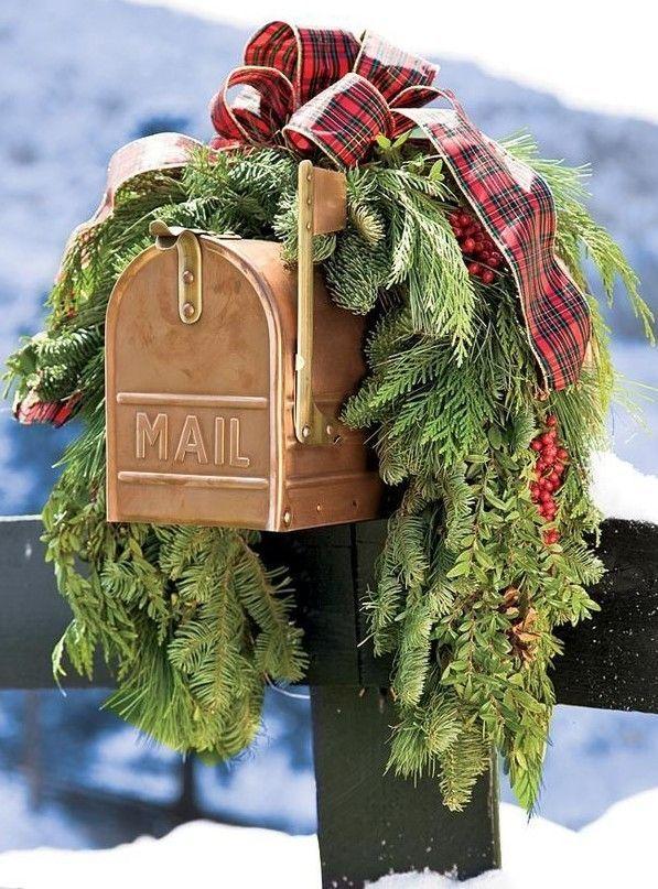 2013 Christmas mailbox cover decor, Christmas plaid bow garland mail box decor, Christmas holiday outdoor decor