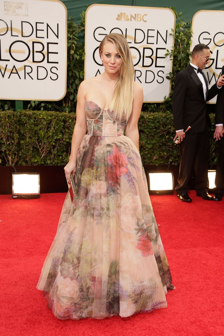 Kaley Cuoco hit the red carpet at the Golden Globes.
