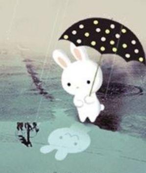 Häschen mit Regenschirm