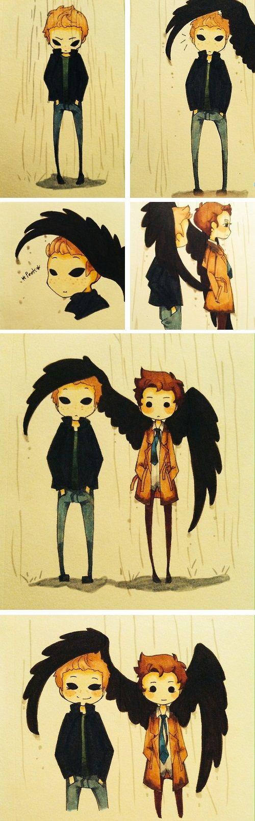Demon!Dean and Castiel ||| Destiel ||| Supernatural Fan Art by cellstiel on Tumblr