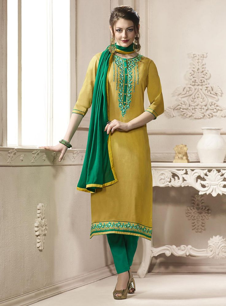 Light Yellow Cotton Pant Style Suit 114406