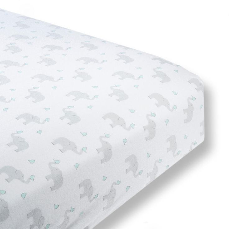 Swaddledesigns Cotton Fitted Crib Sheet Elephant