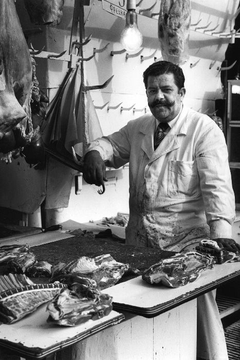 Butcher in Athens central market, 1981
