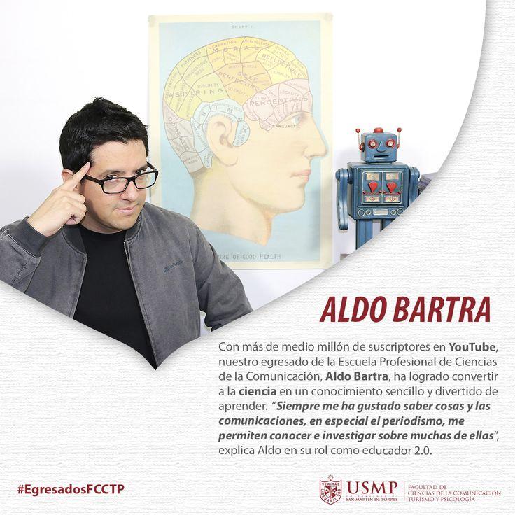 #EgresadosFCCTP   Nuestro egresado Aldo Bartra creó el canal de #YouTube El Robot de Platón como una herramienta para difundir conocimientos científicos. Hoy su éxito traspasa fronteras e idiomas. Conoce su historia en la Revista Veritas.