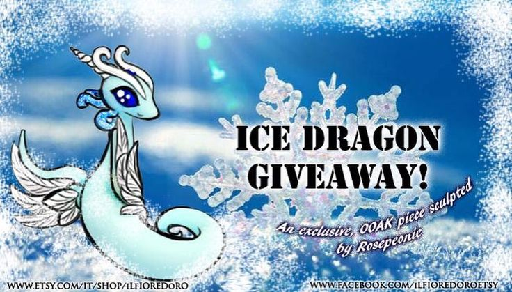 ♣ ICE DRAGON GIVEAWAY ♣ Starts 15th - ends 30th Nov.  Welcome to the third and last holiday event of this year :D  ♦ PRIZE: A custom sculpted Ice Dragon (see Deviantart gallery or page photos for examples) ❤  ♦ HOW TO PARTICIPATE? * Find the related posts on Facebook and/or Instagram and find out how! You may enter through both of them 😊  #dragon #giveaway #ooak #fantasy #handmade #italy #handmadeinitaly #sculpture #miniature