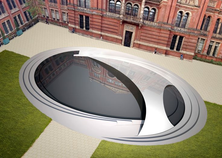 The Crest installation by Zaha Hadid for the V&A's John Madejski Garden from above.