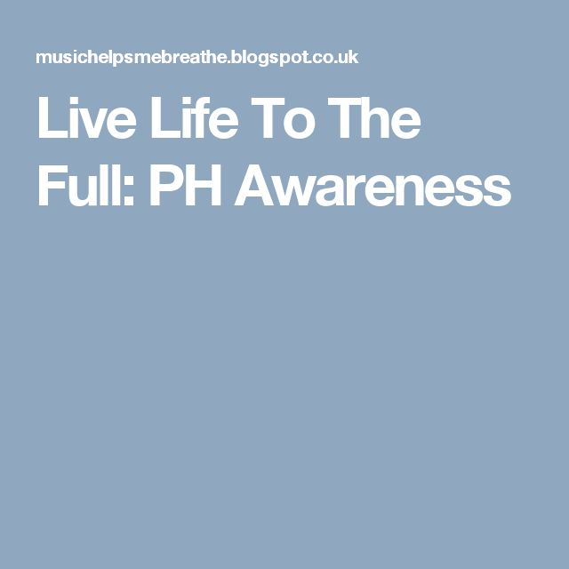 Live Life To The Full: PH Awareness