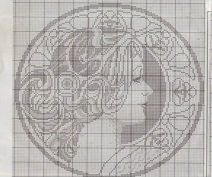 Borduurpatroon Kruissteek Mucha *Embroidery Cross Stitch Pattern