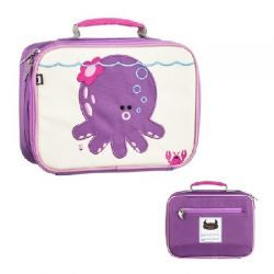 Penelope the Octopus Coated Canvas Lunchbox by #BeatrixNY - These insulated lunch boxes are a playful way to keep sandwiches & carrot sticks fresh until lunch time. Made with heavy-duty nylon and machine washable for kid- proof durability and easy cleaning. Back side has a name tag and a zipped pocket. Tested PVC free, lead free, and phthalate free.